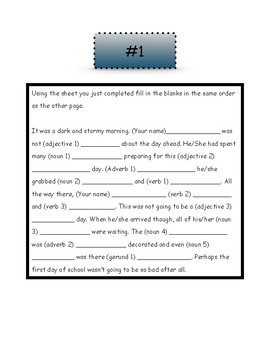 First Day Mad Libs