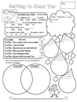 First Day Math Informational Sheet