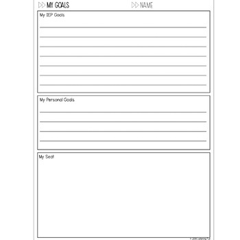 Back to School: Goals and Seating Worksheet for DHH Students