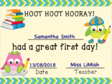 First Day Of School Certificate. FREE!!!