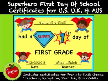 First Day Of School Certificates (Superhero theme)