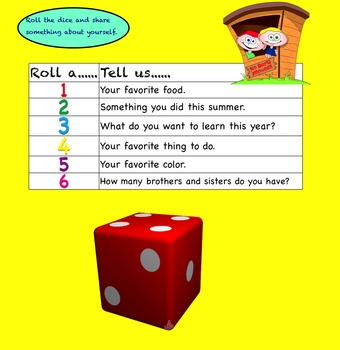 First Day Of School Dice Activity