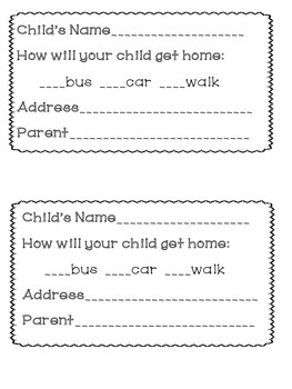 First Day Of School Forms