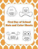 First Day Of School Hats and Color Sheets