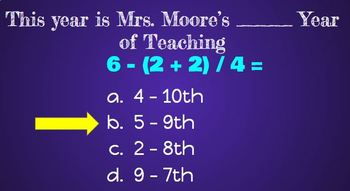 First Day Of School: Math Review - Order Of Operations