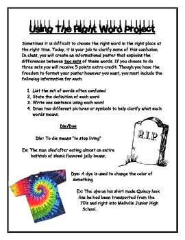 Homophones Review Poster Project