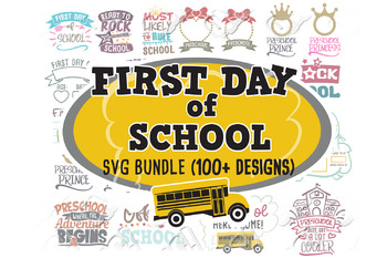 First Day Of School SVG Bundle Sign Monogram in svg dxf jpeg png eps