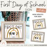 Modern BOHO RAINBOW First Day Of School Sign   2021   Editable Neutral Rainbow