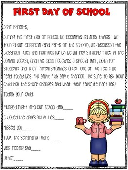 First Day Parent Evaluation Freebie
