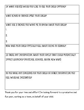 First Day Parent Survey
