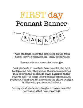 First Day Pennant Worksheet - Decorate your room with kids art