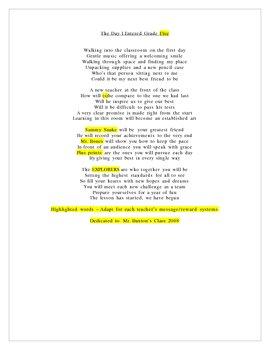 First Day Poem