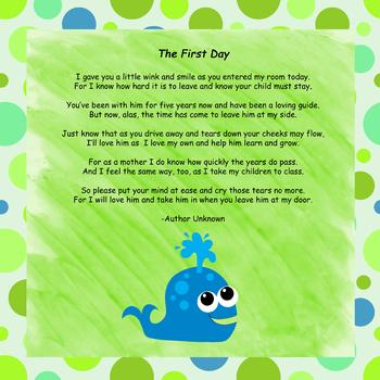 First Day Poem - Ocean Theme