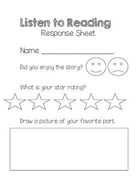 Listen to Reading Response Sheet