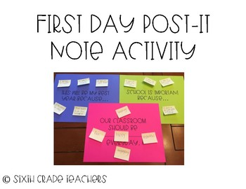 First Day Post-It Note Activity