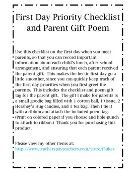 First Day Priority Checklist and Parent Gift Tag Poem