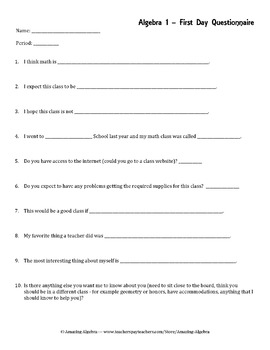 First Day Questionnaire