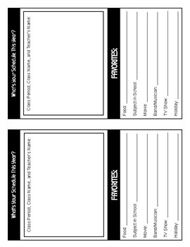 First Day Questionnaire for Middle & High School