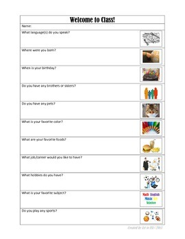 First Day Questions with Pictures for ELL Students FREE