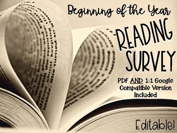 Reading Survey: Student Reading Interest Survey for First Week of School