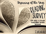 Student Reading Interest Survey First Days-Printable and 1:1 Compatible Options!