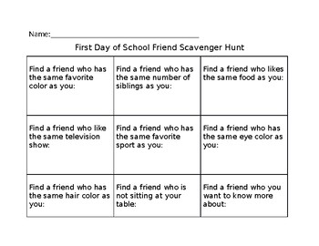 First Day Scavenger Hunts