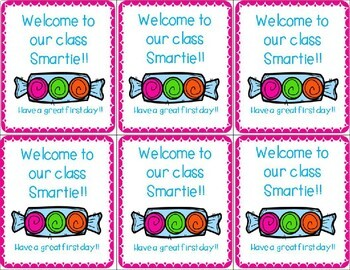 Back to School-First Day Smartie Welcome Tags
