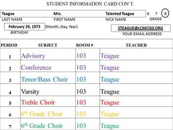 First Day Student Information Card Power Point