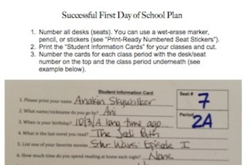 First Day Student Information Cards Plus Teacher Plan