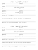 First Day Student-Parent Information Card