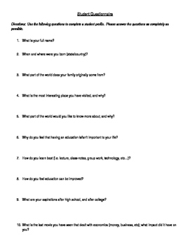First Day Student Questionnaire