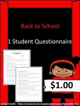 First Day Student Questionnaire/Survey (12 Questions)