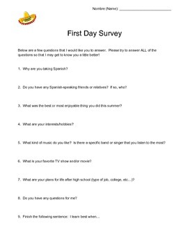 "First Day Survey:  Getting to know your ""Alumnos"""