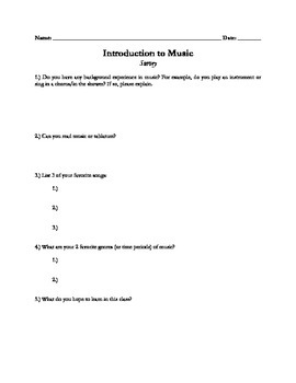 First Day Survey for General Music Gr. 6-12