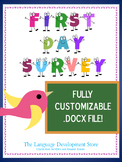 First Day of School Survey (for ELLs and English speakers)