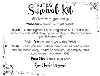 Special Customer Request: First Day Survival Kit #2 w/ religious edits