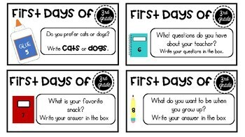 First Day Task Cards- 3rd-6th Grade