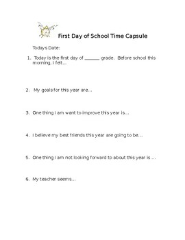 First Day Time Capsule