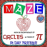 PI DAY FREEBIE {NO PREP} - Maze - Find Area and Circum of circle in terms of PI