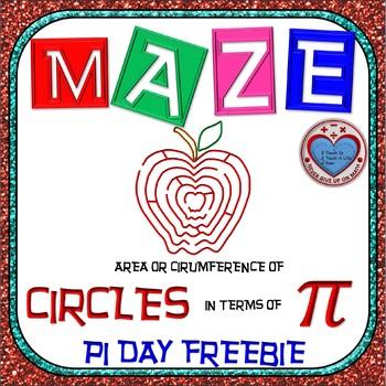 PI DAY FREEBIE {NO PREP} - Maze - Find Area and Circum of