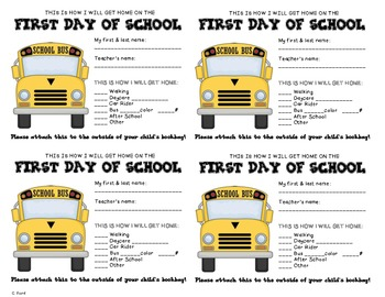 First Day Transportation Tags
