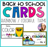 EDITABLE Rainbow Cards for Back to School