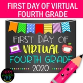 First Day Virtual Fourth Grade Sign- First Day of School