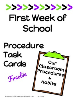 First Day/Week of School  Procedure Task Cards