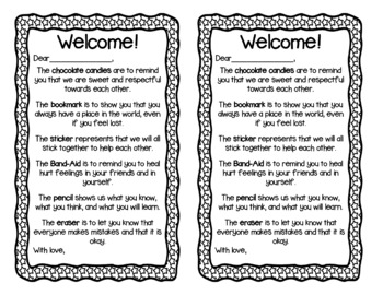 First Day Welcome Bag Notes {Editable}