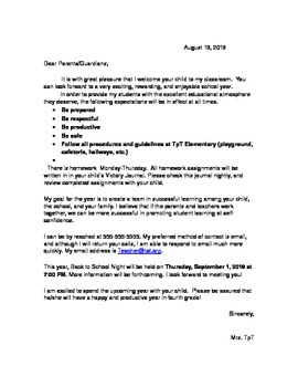 First Day Welcome Letter