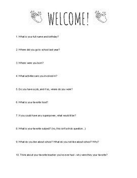 First Day Welcome Sheet