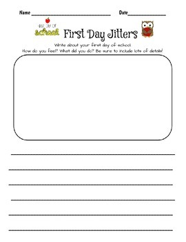 First Day Writing First Day Jitters