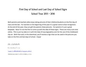 First Day and Last Day of School Signs