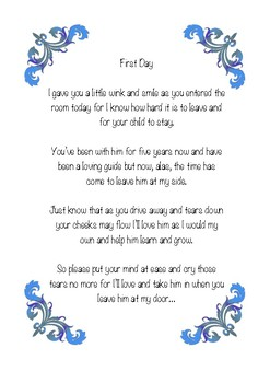 First Day letters for parents